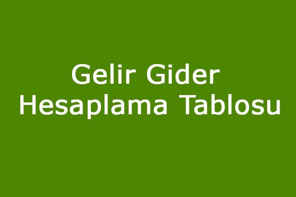 Gelir-Gider Tablosu